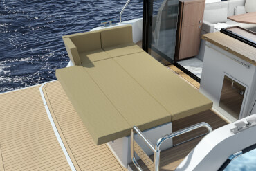 Sealine C335 deck   Decide for yourself if you require a sun lounge or a comfortable sofa in the bow and adjust the cushions accordingly.   Sealine