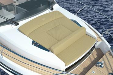Sealine C335 deck   Arrange the cushions in the cockpit to suit your mood.   Sealine