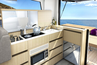 A tilting window above the L-shaped galley to create a drink station opening towards the cockpit