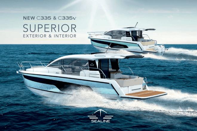 Sealine C335 & C335v брошюра | Улучшенные экстерьер и интерьер Sealine C335 и C335v - два из наших лучших новых дизайнов яхт. Эти моторные яхты оснащены роскошными функциями для максимального отдыха и комфорта. | Sealine