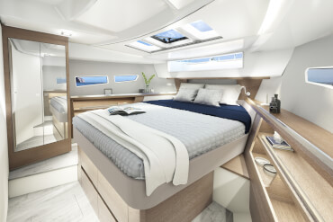 Sealine C335v | Once inside, you realise why light switches are rarely used on this boat before sunset. | Sealine