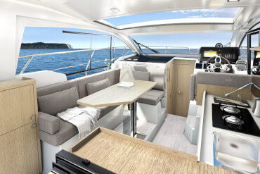 Sealine C335v | The galley is a central part of the saloon, making the preparation of meals a very communicative affair. | Sealine
