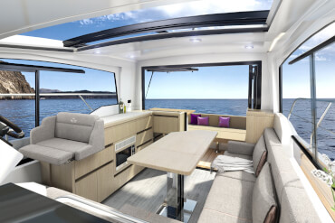 Sealine C335v | Open the tilting window above the L-shaped galley to create a bar opening towards the cockpit. | Sealine