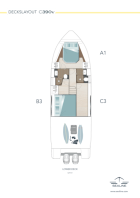 Sealine C390v Disposition - pont inférieur