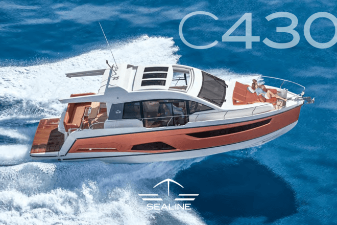Sealine C430 brochure | Dynamic driving at its most elegant. Modern yacht design that does not compromise a spacious, lofty feeling. It is pioneering in its aesthetics and the ultimate symbol of quality of life. Extremely versatile, impressively dynamic and wonderfully relaxing. Put simply: it is the Sealine C430. | Sealine