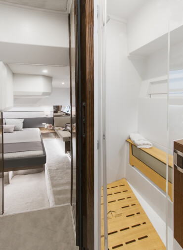 Sealine C430 bathroom | Both cabins feature their own en-suite bathroom with a separate shower. | Sealine
