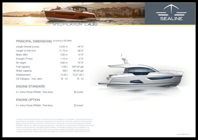 Sealine C430 | Standard Specification | Sealine
