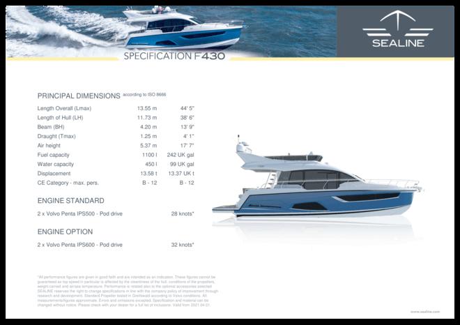 Sealine F430 | Specifiche standard | Sealine