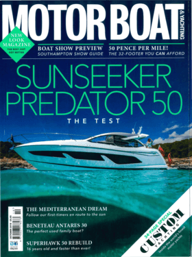 Sealine F430: Review - Motor boat & Yachting / October 2018 | The F430 is the flybridge version of the C430 coupé and the first chance to see this model on British soil. The design feels like was destined to be a flybridge from the outset and for for a boat just shy of 45ft the top deck is impressively large thanks to its extented overhang. | Sealine