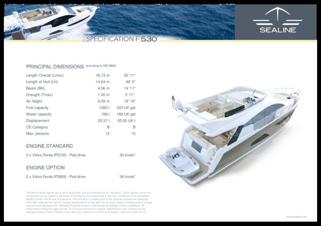 Sealine F530 | Спецификация | Sealine
