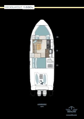 Sealine S330v Layout - ponte inferiore
