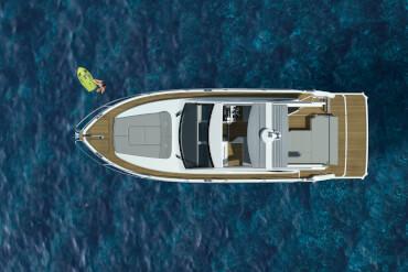 powerboat, birdview, sunroof, bimini, cockpit, sunlounge