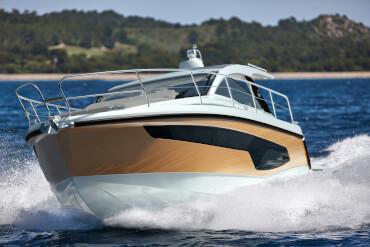 powerboat, hull, colour, railing, cruising, underway