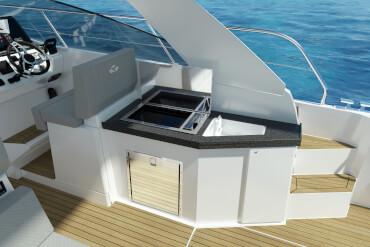 powerboat, cockpit, galley, outside, stove, sink, helm