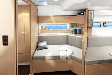 powerboat, interior, sofa, window, cupboard, shelves