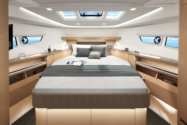 motorboat, master cabin, owner, island bed, hull window, natural light