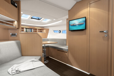 motorboat, interior, table, sofa, couch, bulkhead, window, shelves