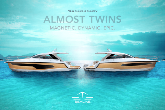 Sealine S335 and S335v brochure | All Sealine yachts are born of the same values: They feature wide interior spaces, an amazing quantity of natural light and outstanding design paired with German engineering. As for these trademarks, the S335 and the S335v display the true spirit of Sealine. | Sealine