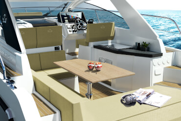 motorboat, cockpit, table, dining, outdoor galley, sun lounge, bench