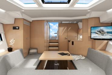 powerboat, interior, sofa, saloon, table, TV, companionway