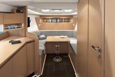 powerboat, interior, sofa, saloon, table, skylight, worktop