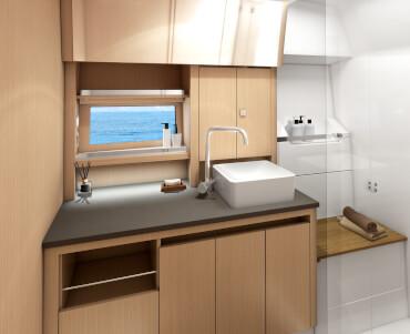 powerboat, interior, bathroom, sink, natural light, material, shower