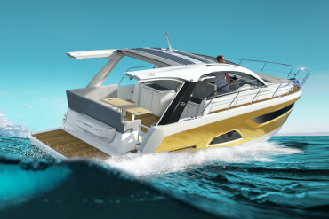 Sportif iki kabinli motor yat okyanusta hızla sürüyor
