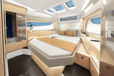SEALINE S390'ın ana kabininde ada yatağı ve bol miktarda gün ışığı alan gövde penceresi bulunur. SEALINE S390'ın ana kabininde ada yatağı ve bol miktarda doğal ışık alan gövde penceresi bulunur.