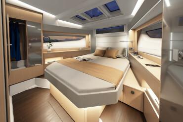 Kraliçe yataklı ve hoş entegre aydınlatmalı master kabin