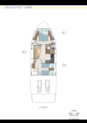 Sealine S430 Layout - Unteres Deck