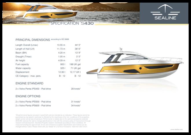 Sealine S430 | Standard Specification | Sealine