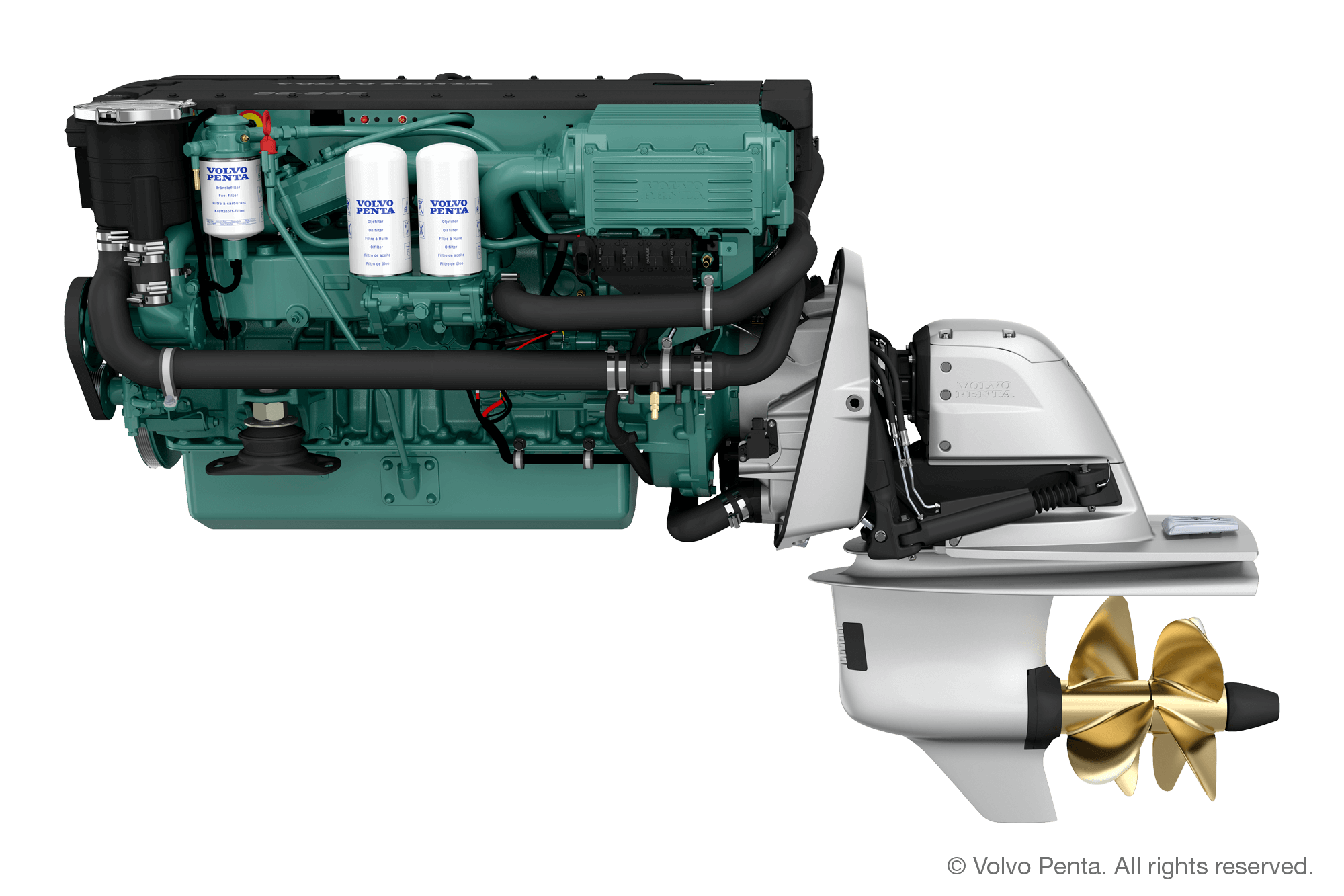 Volvo Penta D6-340 (340 hp), Duoprop stern drive (single engine) with propeller G2