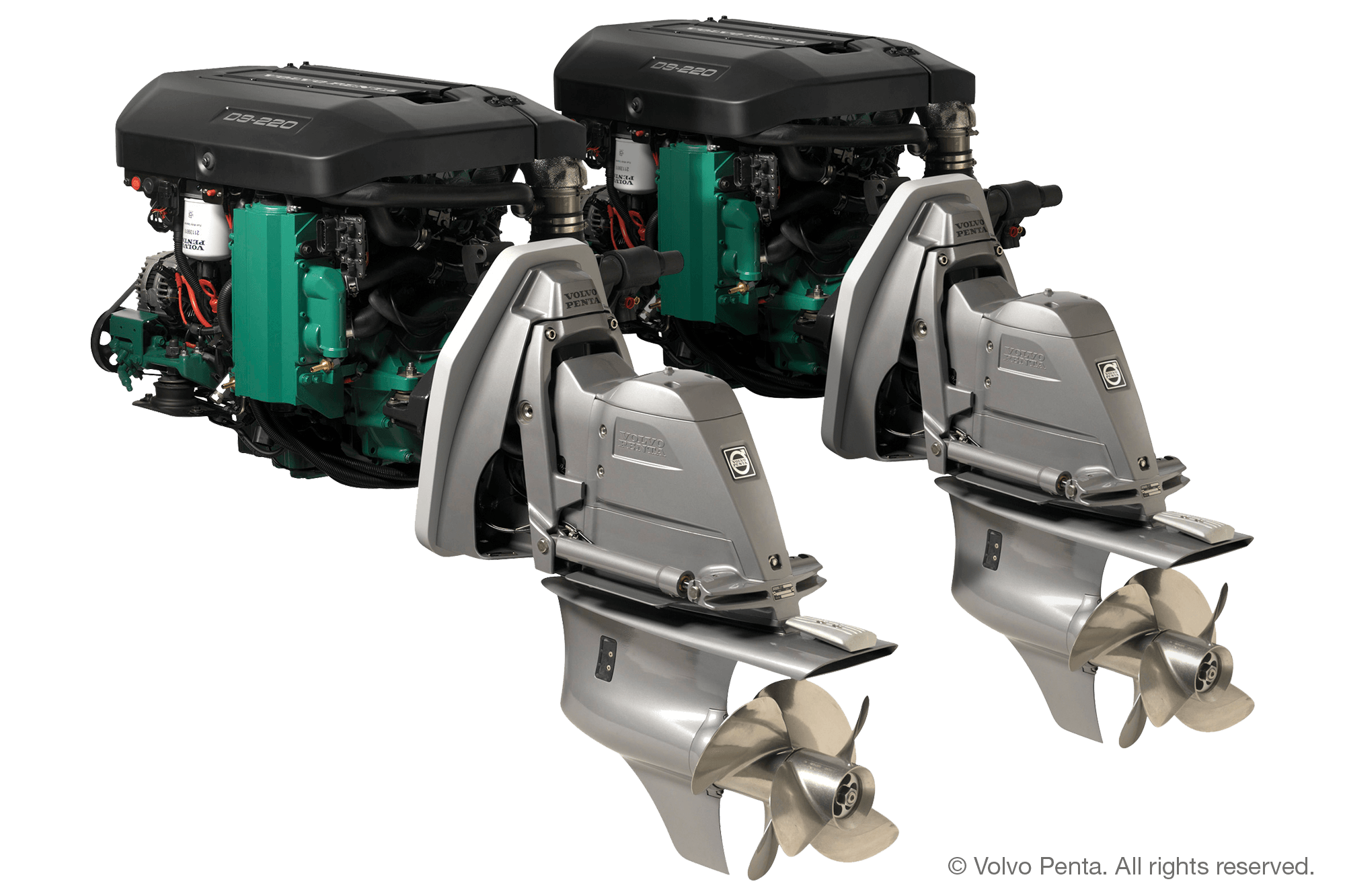 2 Volvo Penta D3-220 (220 hp), Duoprop stern drive with electric steering with propeller IH3