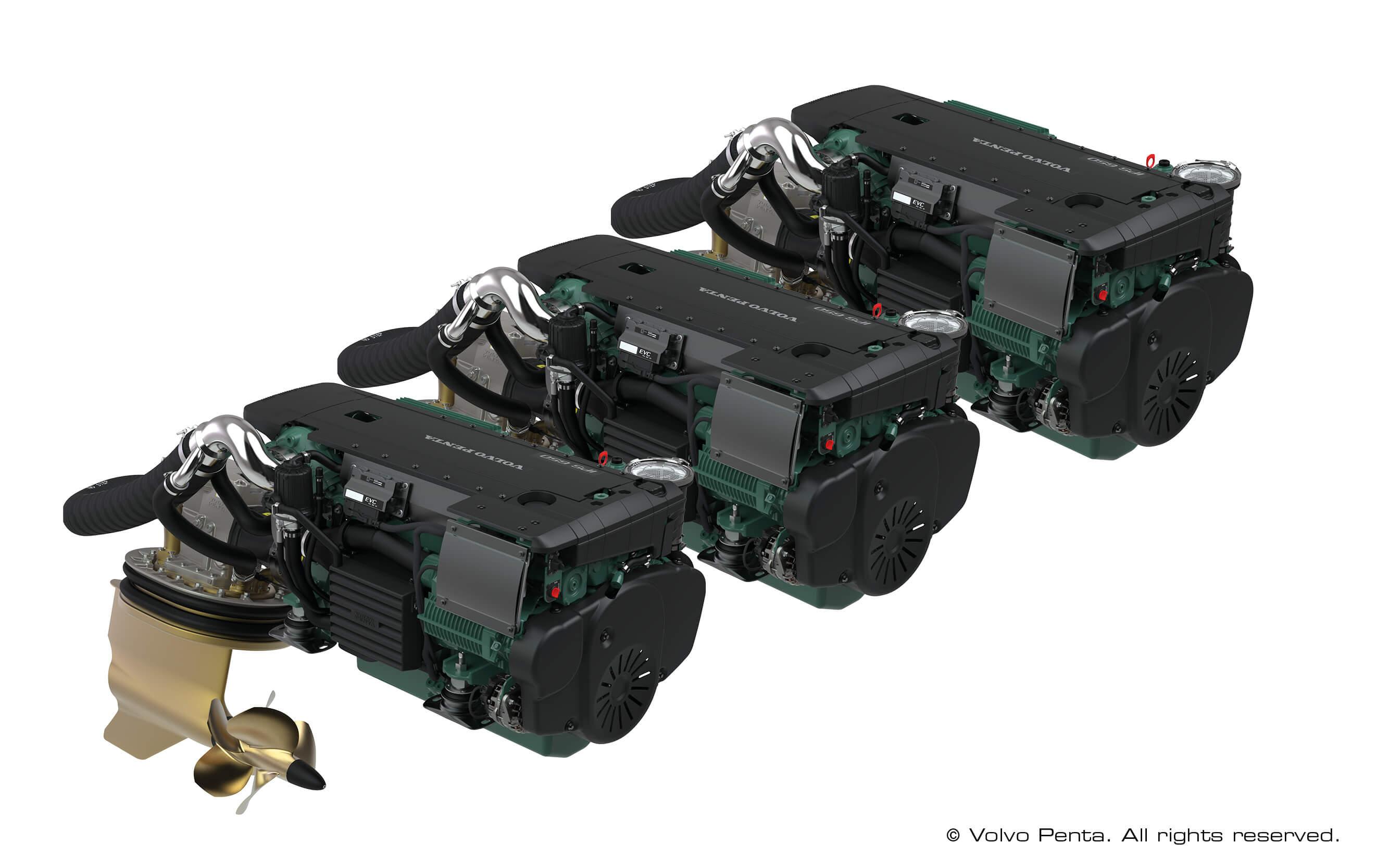3 Volvo Penta IPS650 (480 PS) mit Propeller T5 (nicht mit XD3301)