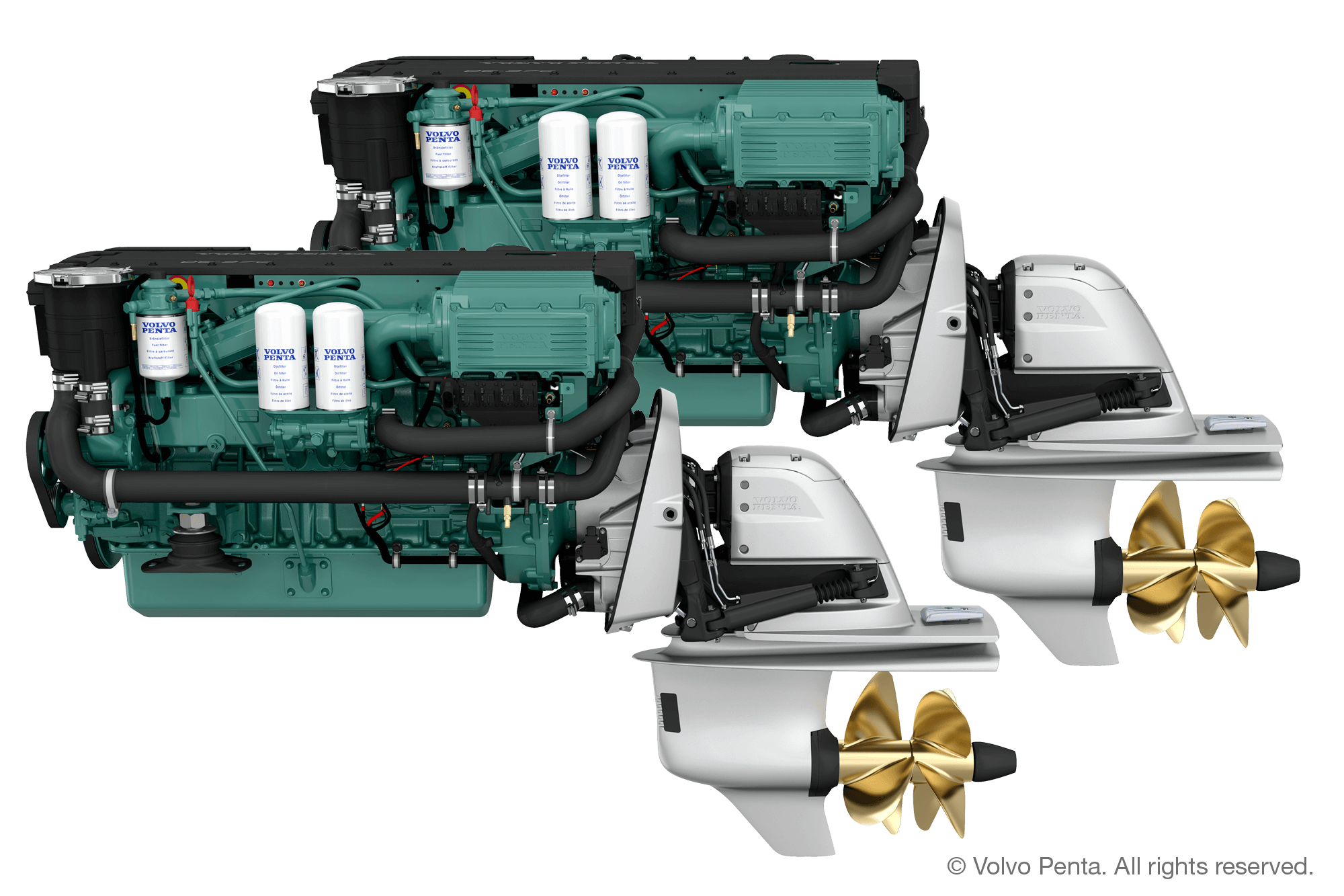 2 Volvo Penta D6-380 (380 hp) - DUOPROP STERN DRIVE with propeller G3