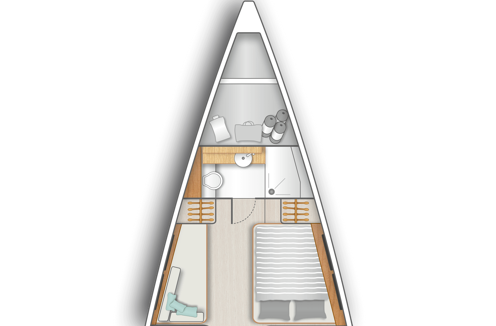A3: Sail locker in bow and master cabin with double berth on stb, sofa on port and a separate head with shower stall