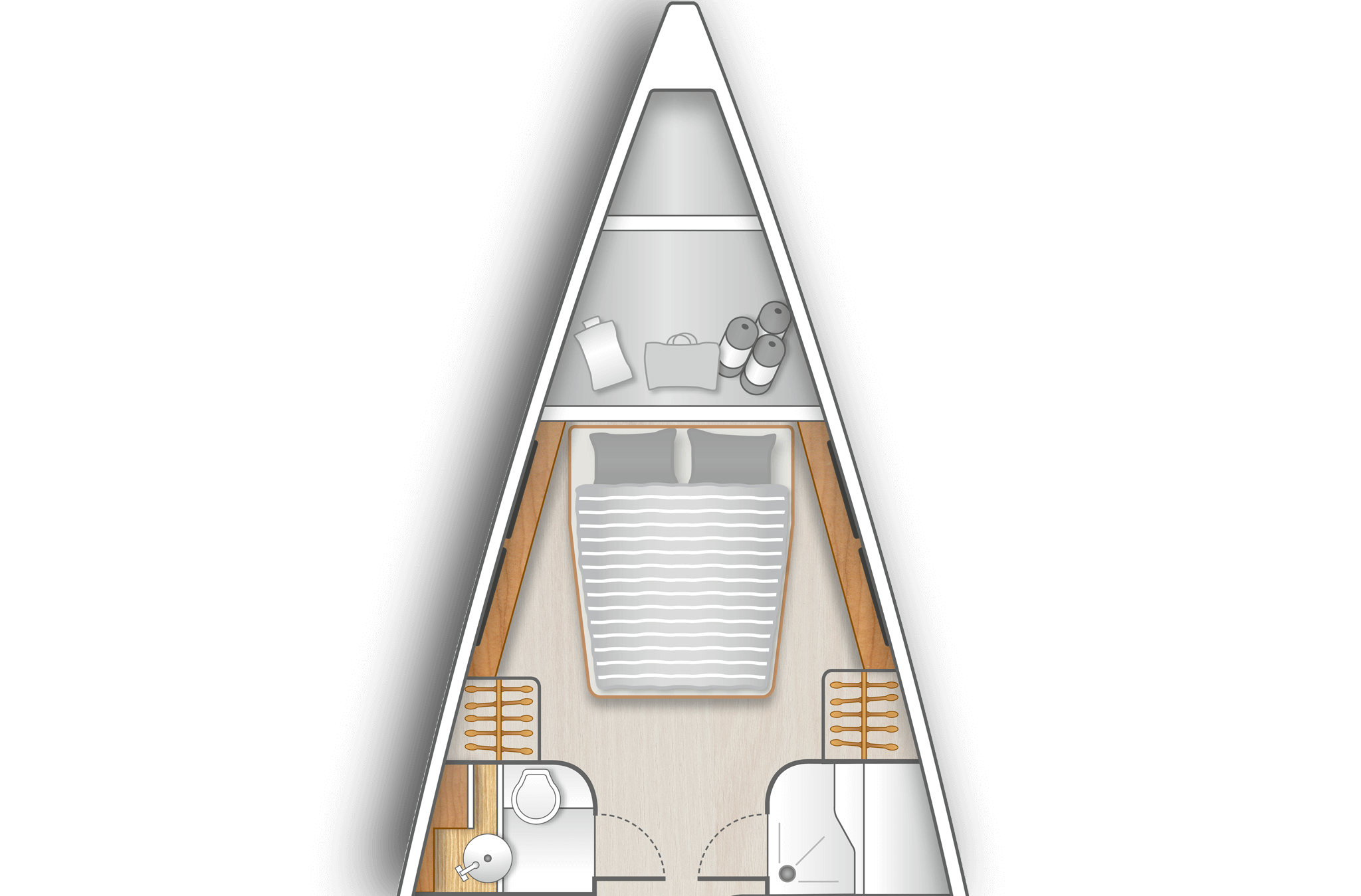 A1: Sail locker in bow and master cabin with island berth, storage space and a separate head on port and shower stall on stb