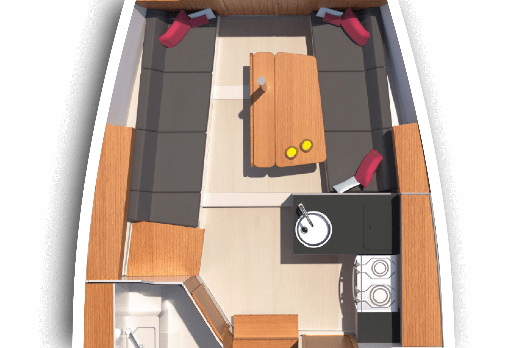 B1: Saloon with L-galley, dining area on stb and sofa on port