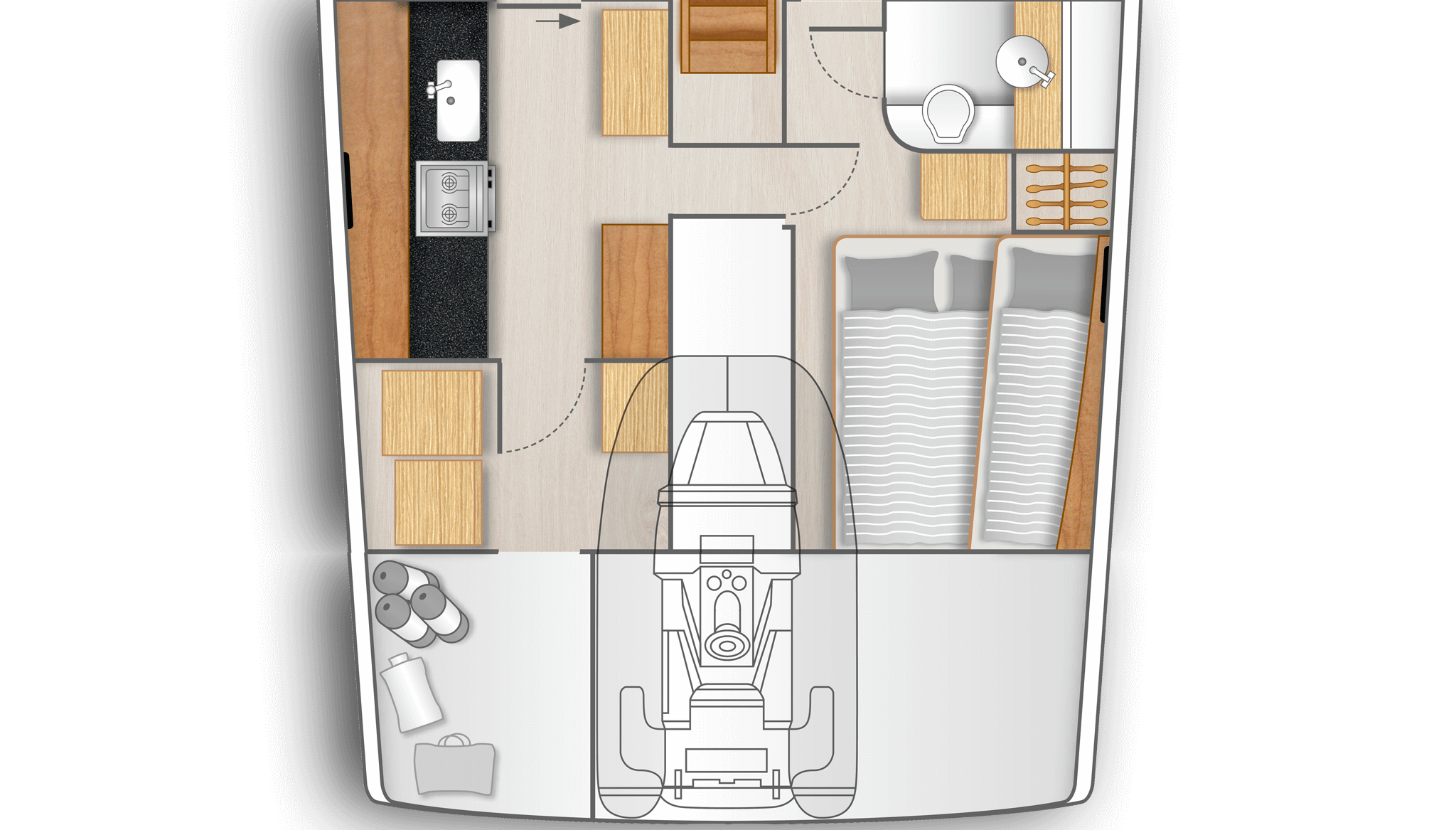 D3: Full functional galley with utility room on port and cabin with bunk bed, double berth and retractable table and separate head on stb