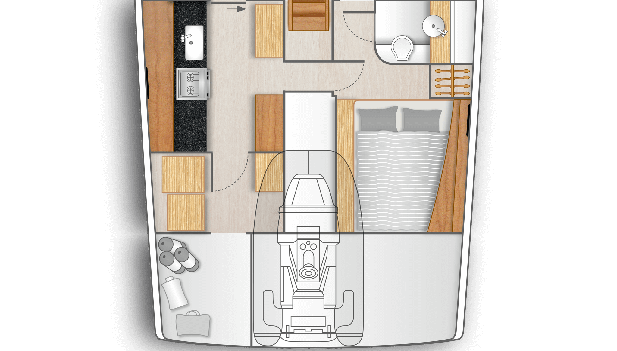 D1: Full functional galley with utility room on port and double cabin with separate head on stb