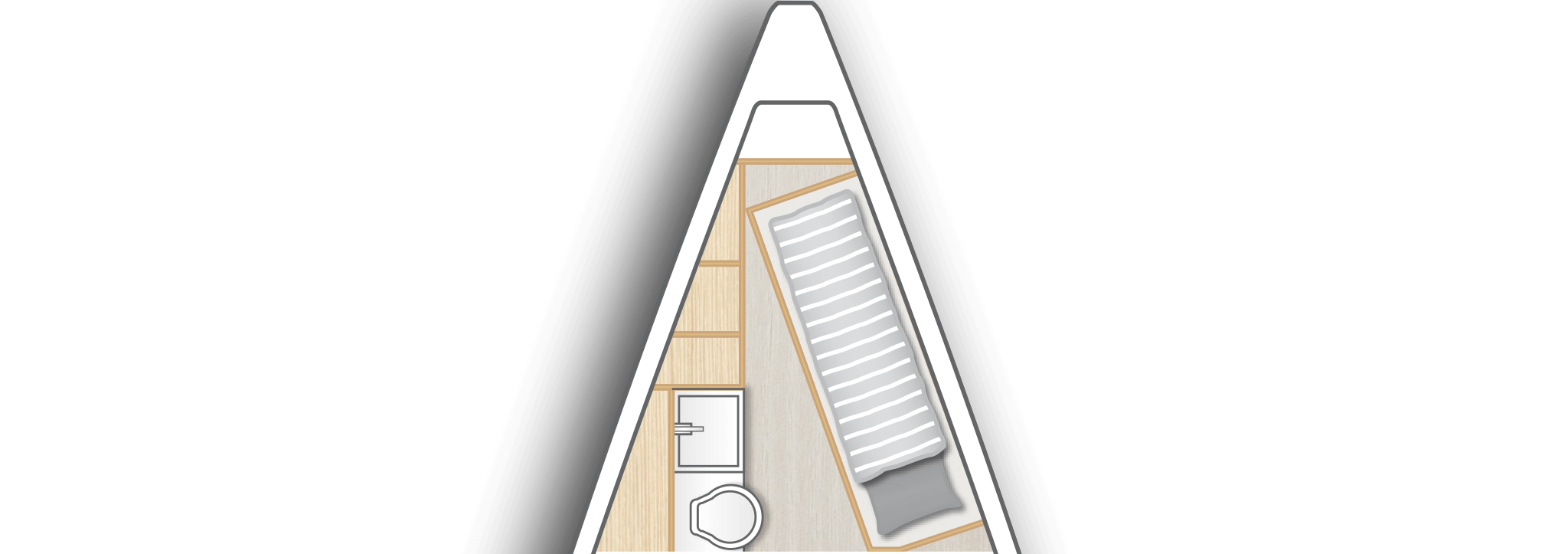 A2: Crew cabin with sink, toilet and storage space
