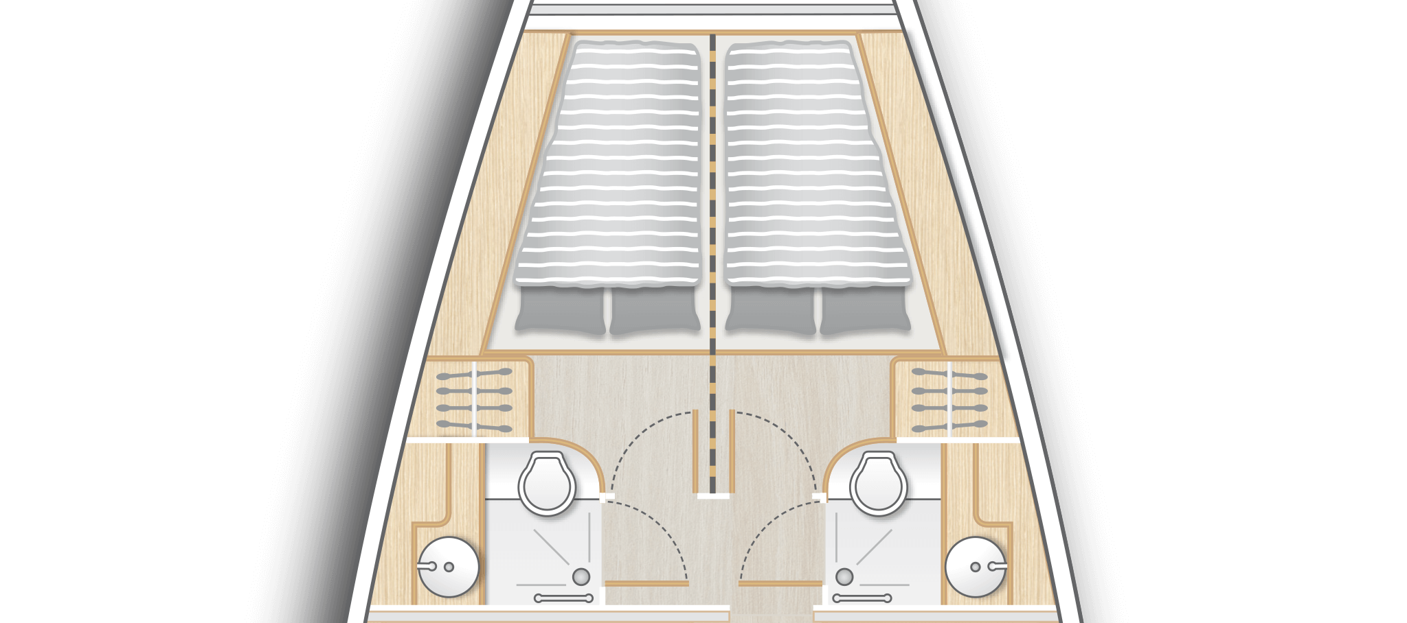 B3: 2 fwd cabins with double berth, storage space and separate head with shower - convertible by a removable bulkhead into a single cabin