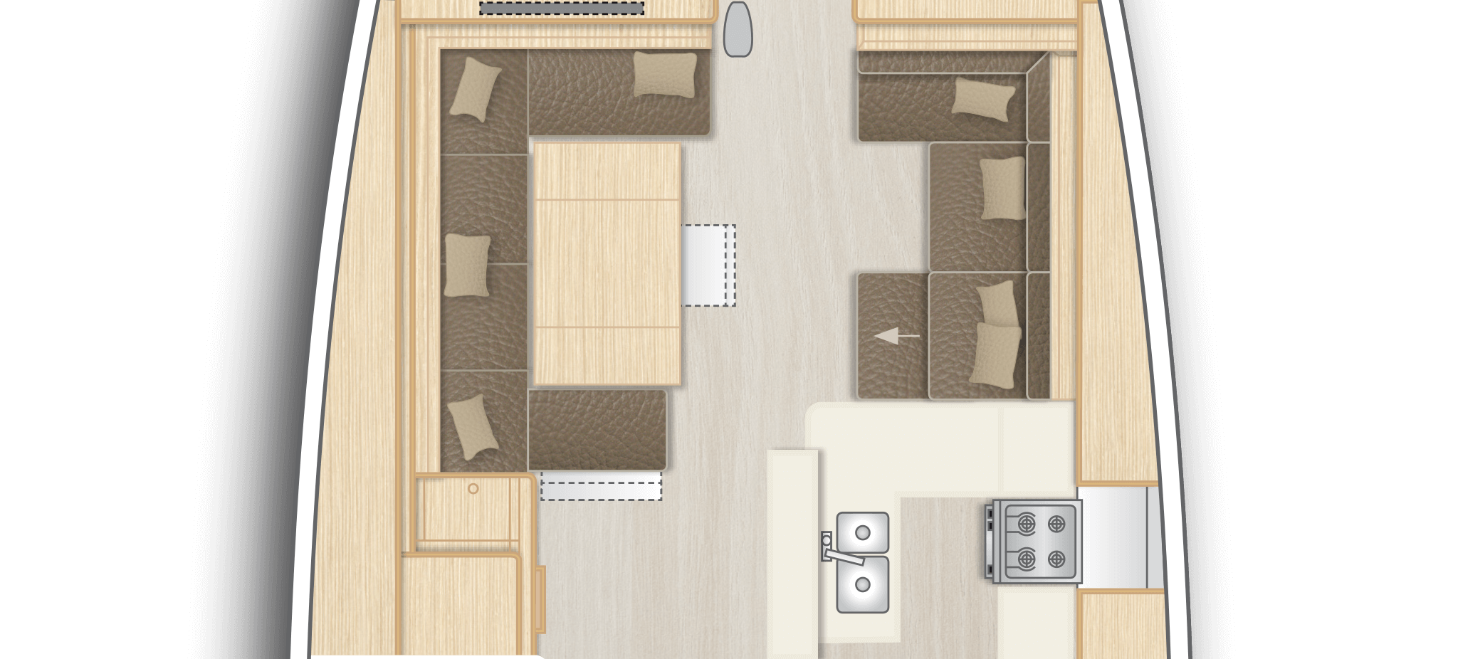 C2: Saloon with full functional L-galley and dining area on stb and lounge area with chart table on port