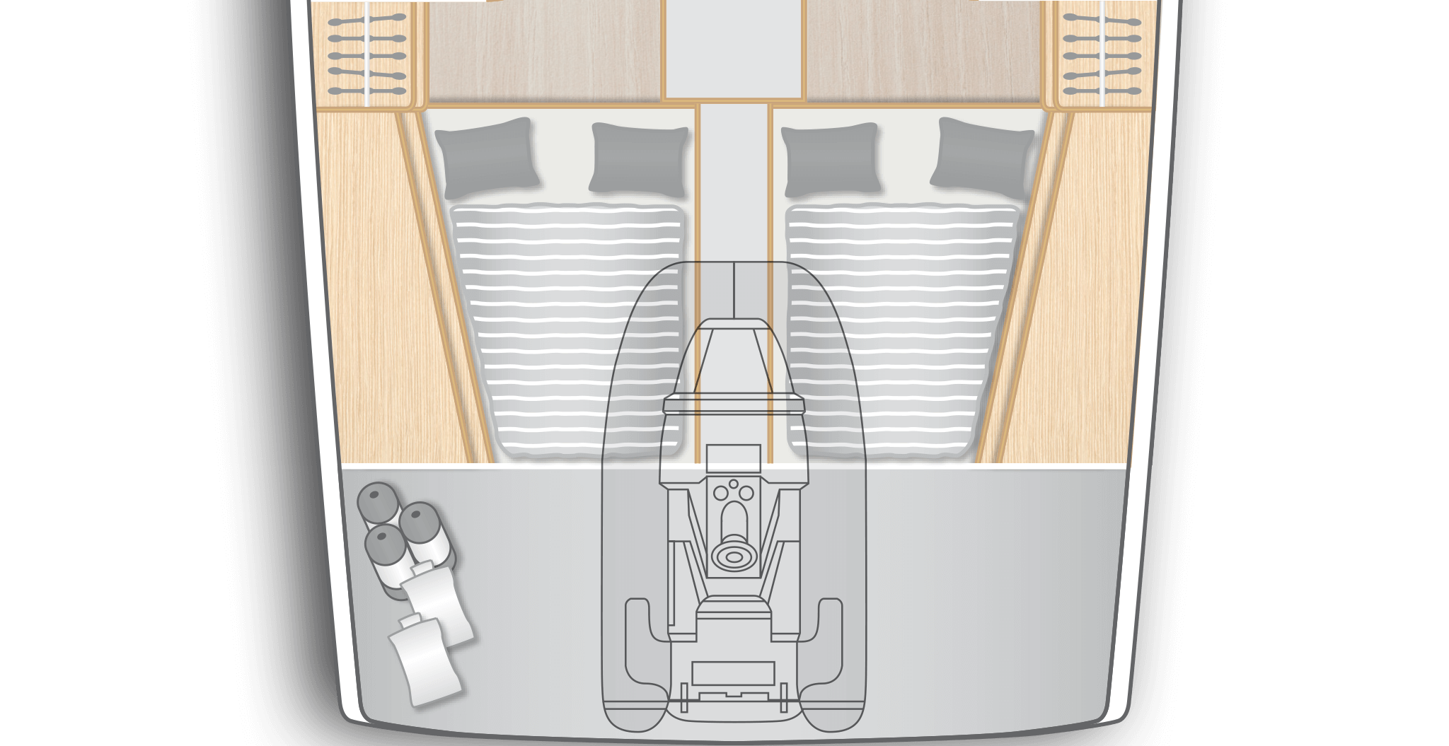 E1: 2 aft cabins with double berth, storage space and separate head