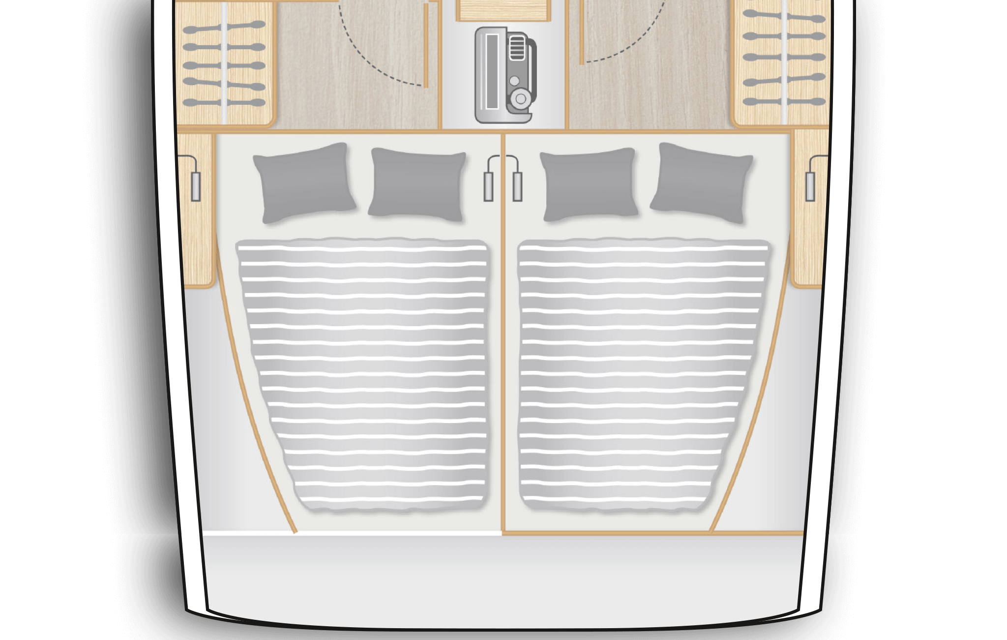 C2: 2 aft cabins with double berth and storage space - separate head on port