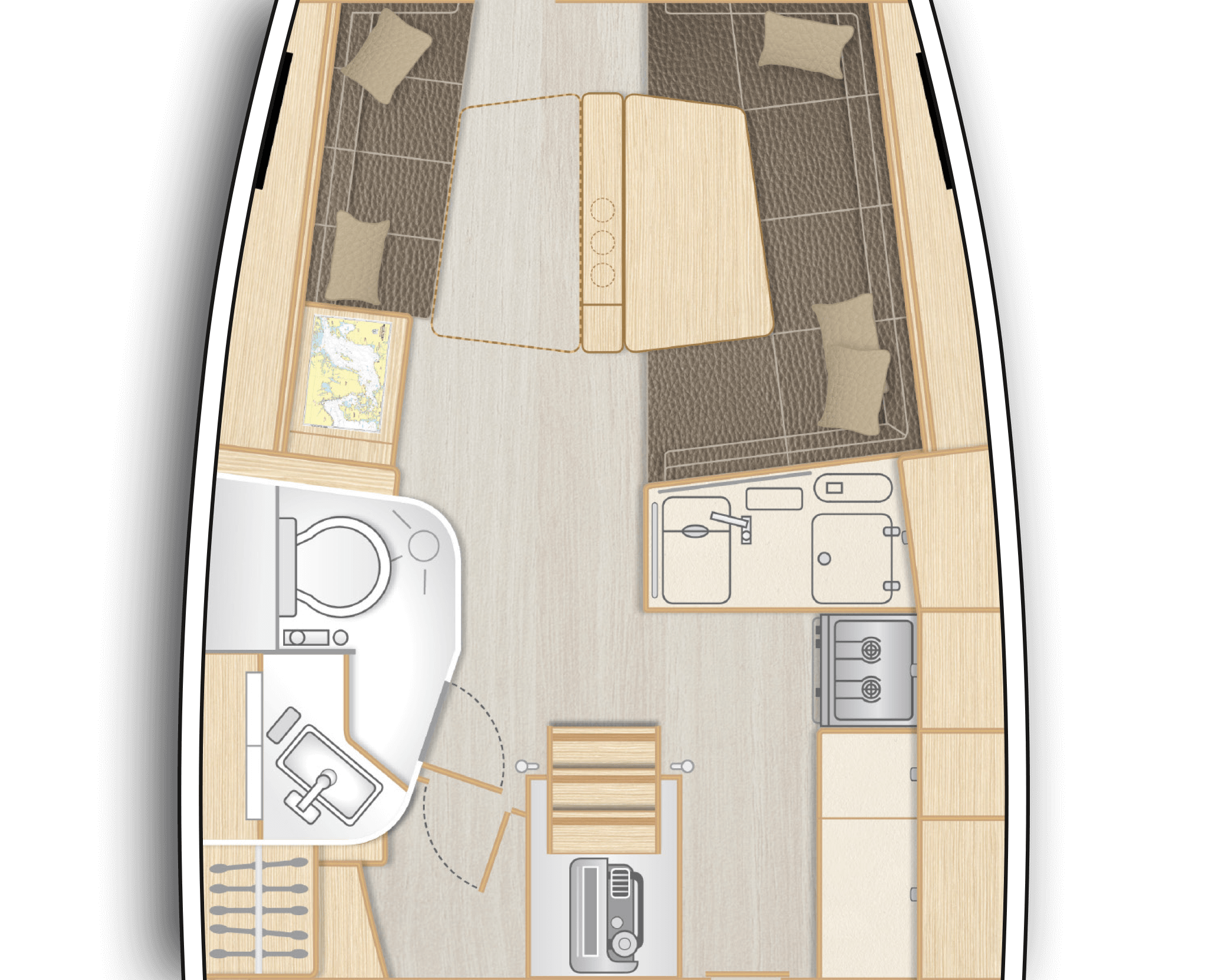 B1: Saloon with large L-galley, dining area on stb and sofa on port - separate head with shower stall on port (only with layout C1)