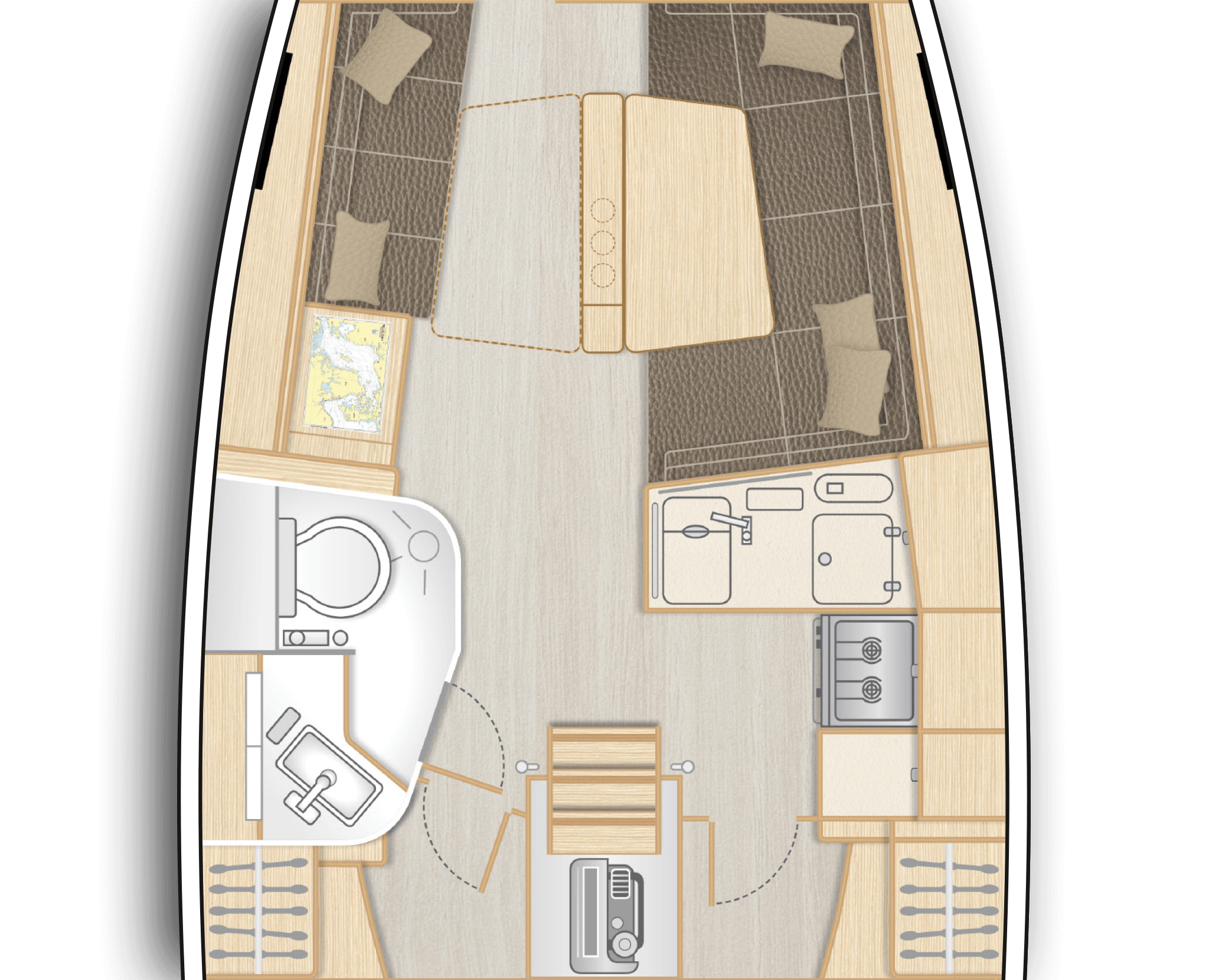 B2: Saloon with short L-galley, dining area on stb and sofa on port - separate head with shower stall on port (only with XL3002 or XL3003)