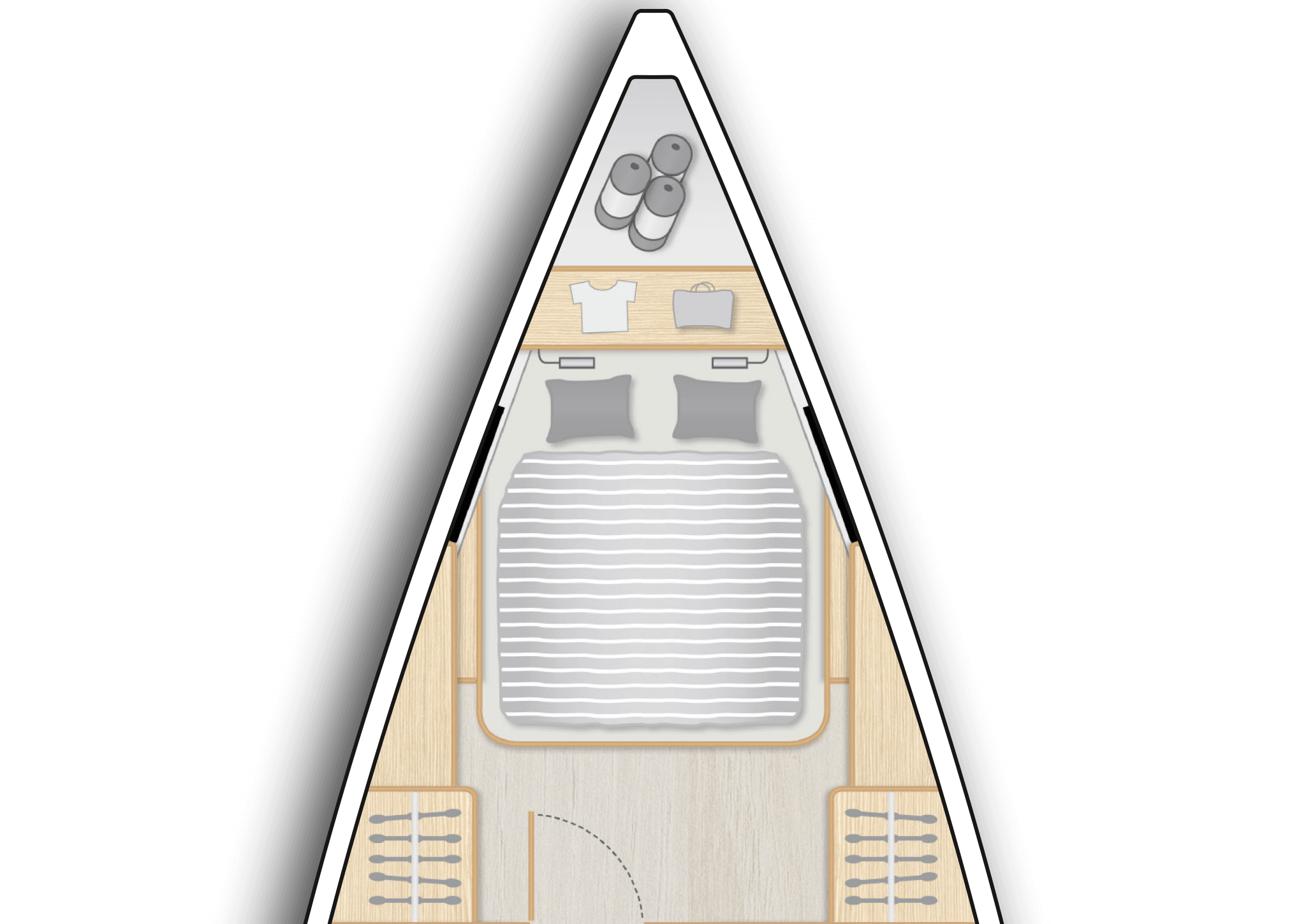 A1: Master cabin with island double berth and storage space