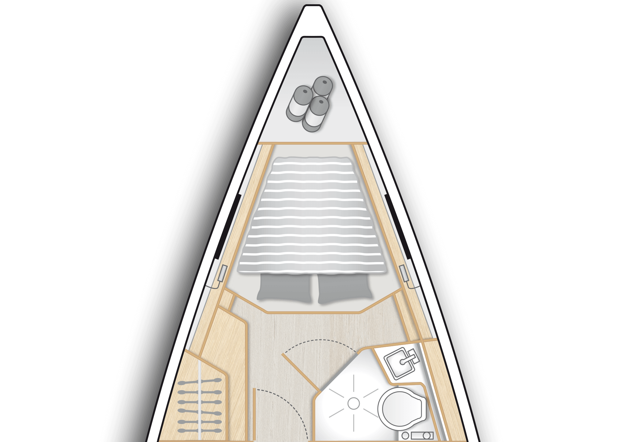 A2: Master cabin with separate head, double V-berth and storage space