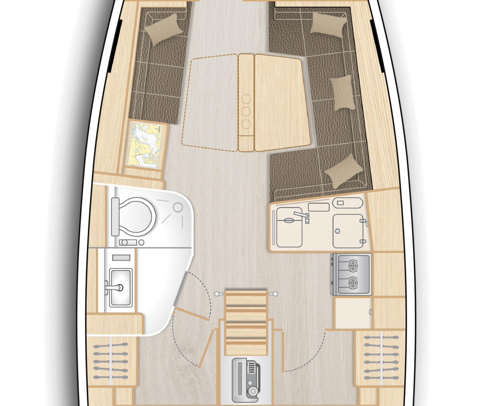 B1: Saloon with large L-galley, dining area on stb and sofa on port - separate head with shower stall on port (only with XL3001)